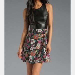 Eight Sixty Dresses - Eight Sixty vegan leather floral dress size XS